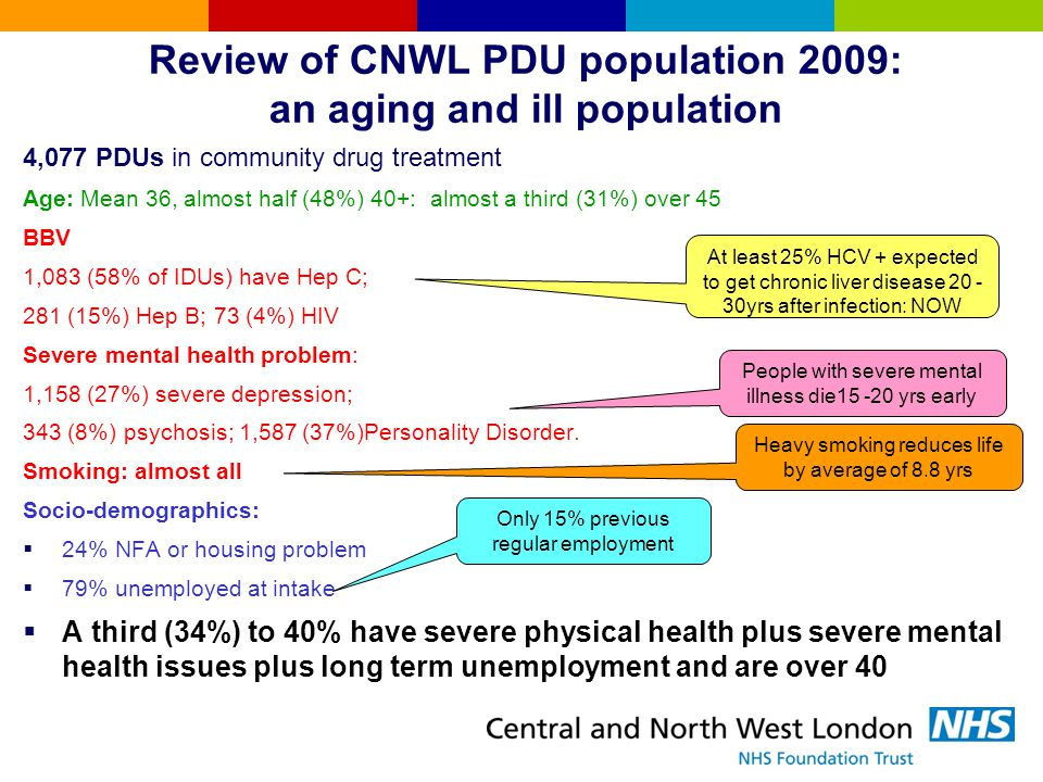 CNWL Review: audits & stakeholder surveys We were:  good at core aspects eg community & in-patient prescribing, retention, staff competence, health inputs and clinical governance but  poorer on value for money, performance management, working with primary stimulant users, unplanned discharges and relationships/image  Planned exits: some discharge drug free but mainly referral to GPs (the commissioned pathway) SOLID but `old fashioned' & expensive NHS provider: needed to modernise  CNWL TOP Outcomes on GOOD on reducing drug misuse, crime, & injecting: limited improvement in housing and employment local systems issues