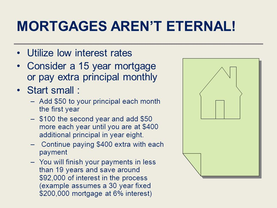 MORTGAGES AREN'T ETERNAL! Utilize low interest rates Consider a 15 year mortgage or pay extra principal monthly Start small : –Add $50 to your princip