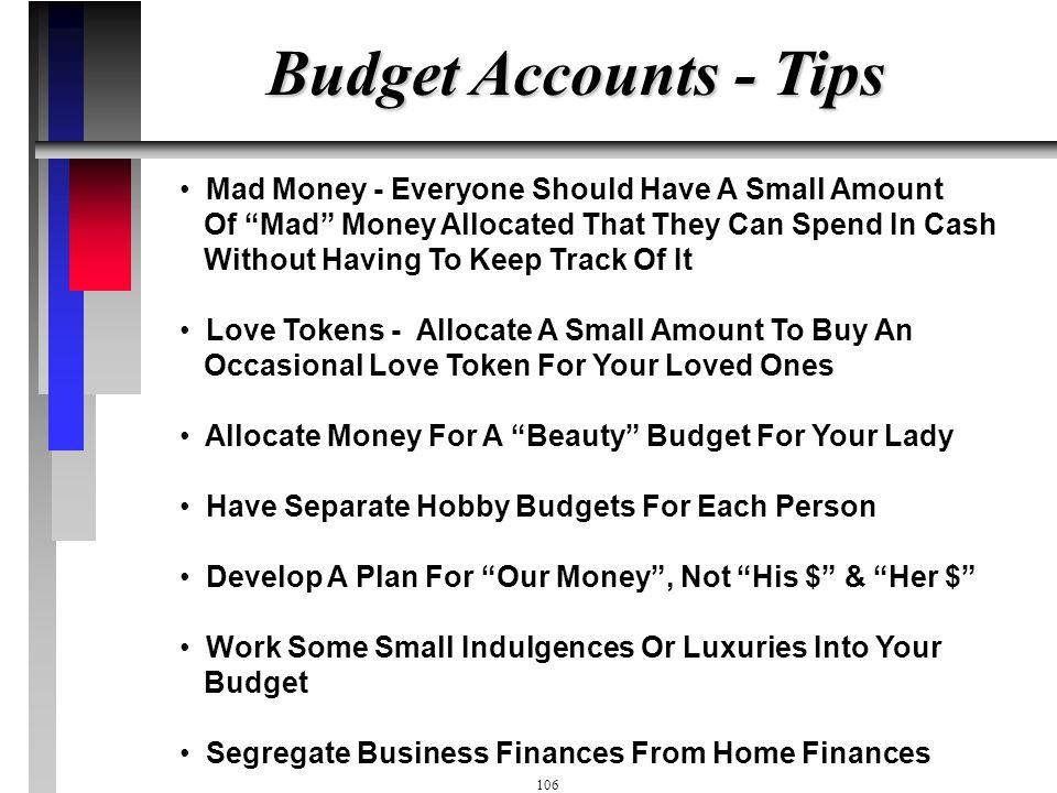 105 Budget Account Sheet - One Per Budget Item (Workbook Pg I2) DateTransactionWithdrawBalance 1-MayDeposit400$ $ 3-MaySmith's68$ 332$ 4-MayAbco82$ 25