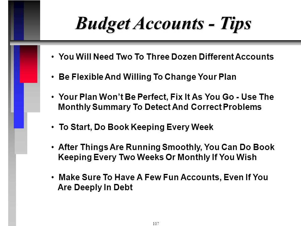"""106 Budget Accounts - Tips Mad Money - Everyone Should Have A Small Amount Of """"Mad"""" Money Allocated That They Can Spend In Cash Without Having To Keep"""