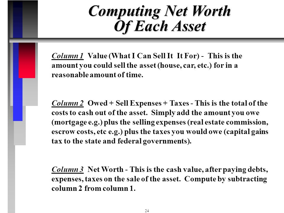 23 Net Worth Statement (Notebook Pg C2) Value Owe, Taxes, Net Value Costs