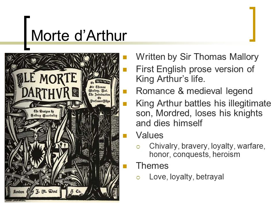 Morte d'Arthur Written by Sir Thomas Mallory First English prose version of King Arthur's life.