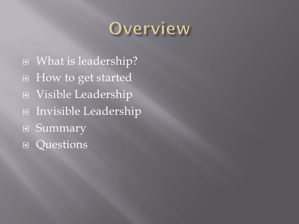  What is leadership?  How to get started  Visible Leadership  Invisible Leadership  Summary  Questions