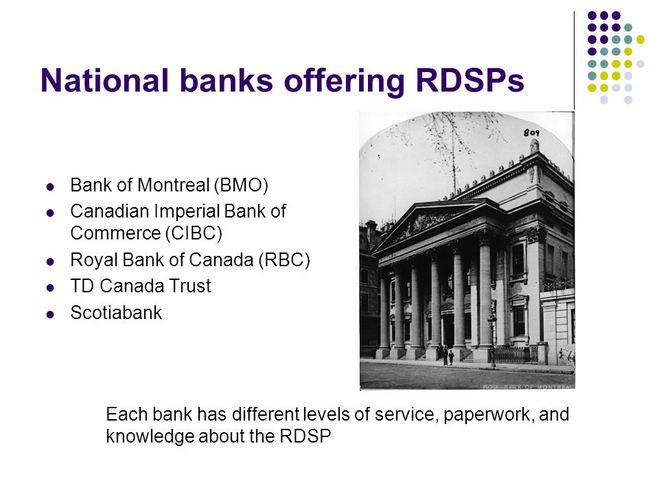 National banks offering RDSPs Bank of Montreal (BMO) Canadian Imperial Bank of Commerce (CIBC) Royal Bank of Canada (RBC) TD Canada Trust Scotiabank E