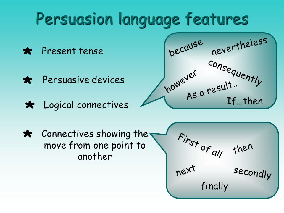 Persuasion language features Present tense Persuasive devices Logical connectives Connectives showing the move from one point to another because conse