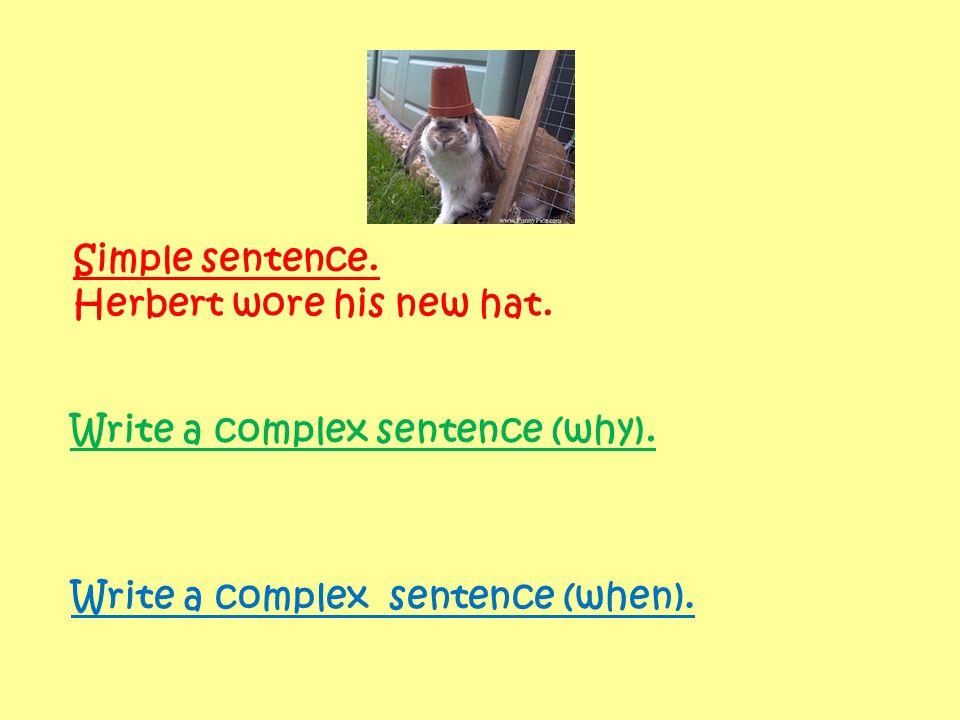 Simple sentence. Herbert wore his new hat. Write a complex sentence (why). Write a complex sentence (when).