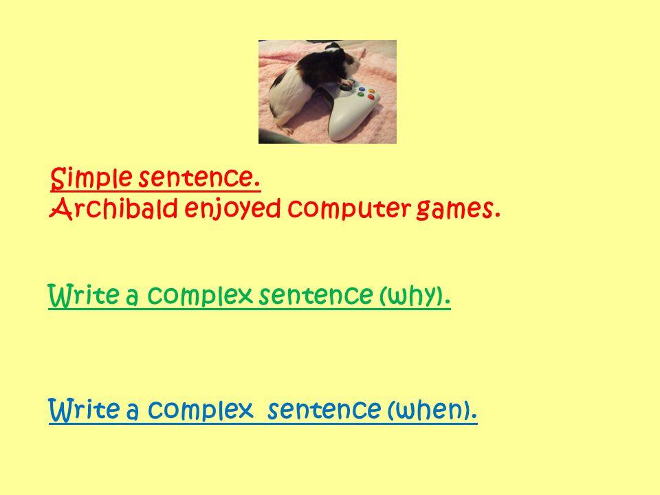 Simple sentence. Archibald enjoyed computer games. Write a complex sentence (why). Write a complex sentence (when).