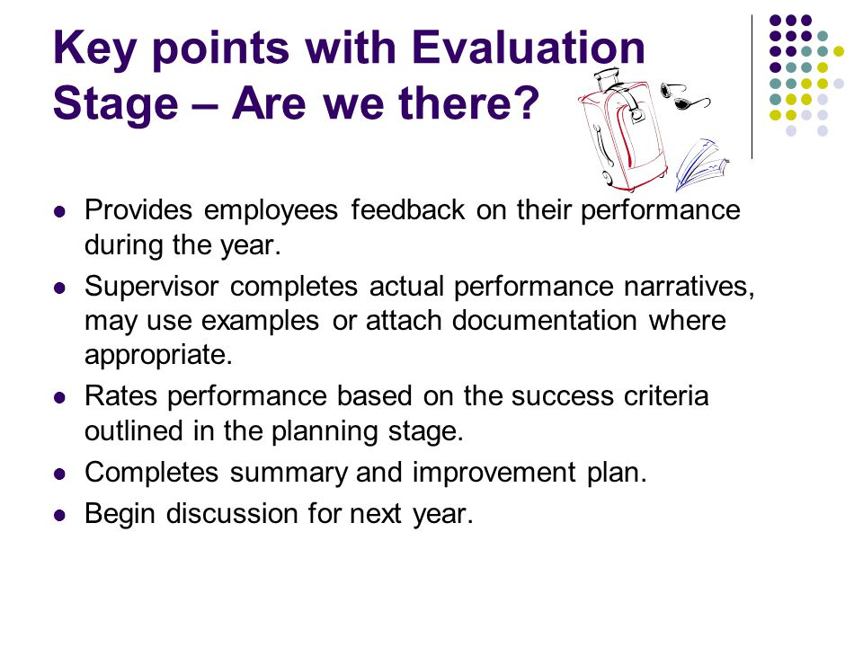 Key points with Evaluation Stage – Are we there? Provides employees feedback on their performance during the year. Supervisor completes actual perform