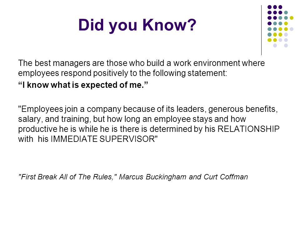 "Did you Know? The best managers are those who build a work environment where employees respond positively to the following statement: ""I know what is"