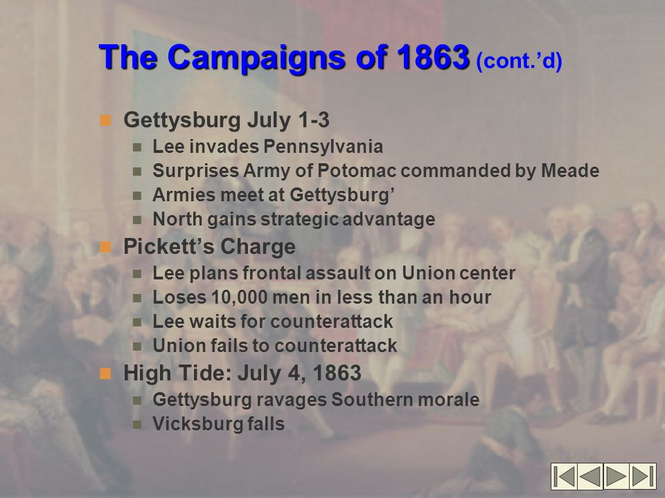 The Campaigns of 1863 The Campaigns of 1863 (cont.'d) Gettysburg July 1-3 Lee invades Pennsylvania Surprises Army of Potomac commanded by Meade Armies meet at Gettysburg' North gains strategic advantage Pickett's Charge Lee plans frontal assault on Union center Loses 10,000 men in less than an hour Lee waits for counterattack Union fails to counterattack High Tide: July 4, 1863 Gettysburg ravages Southern morale Vicksburg falls