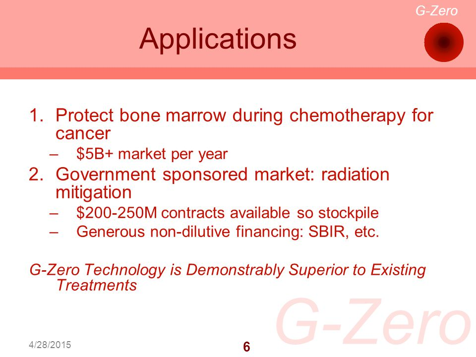 G-Zero 7 4/28/2015 Current Status Research operations housed in Lineberger Comprehensive Cancer Center Subcontractors/Consultants in place Non-dilutive financing in place
