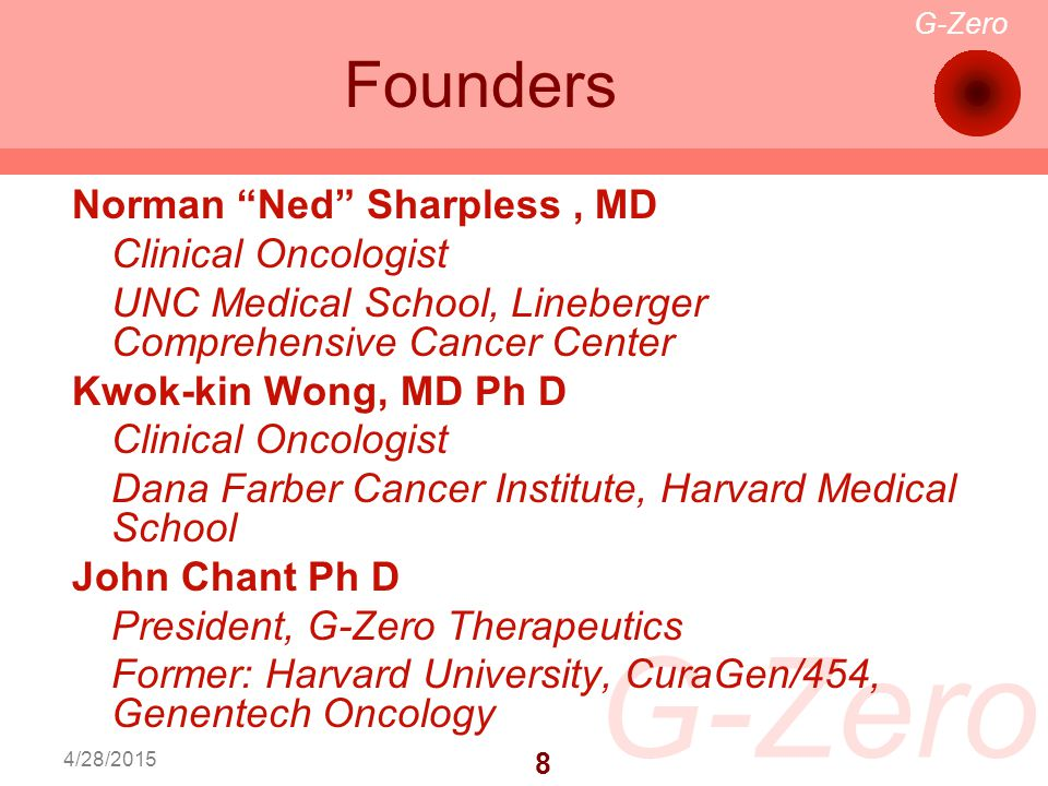 G-Zero 8 Founders 4/28/2015 Norman Ned Sharpless, MD Clinical Oncologist UNC Medical School, Lineberger Comprehensive Cancer Center Kwok-kin Wong, MD Ph D Clinical Oncologist Dana Farber Cancer Institute, Harvard Medical School John Chant Ph D President, G-Zero Therapeutics Former: Harvard University, CuraGen/454, Genentech Oncology