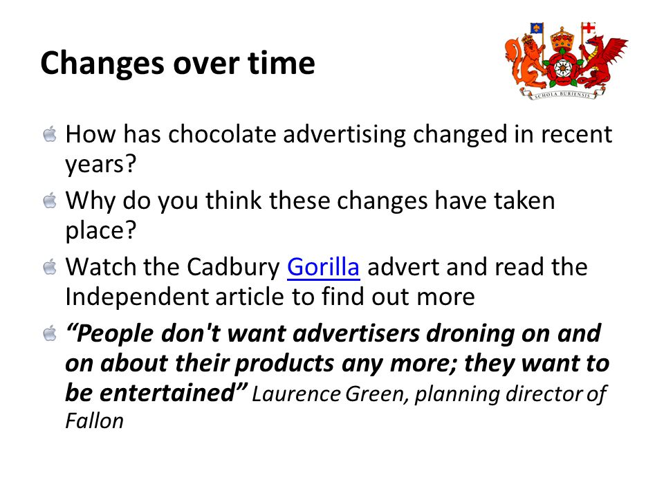 Changes over time How has chocolate advertising changed in recent years.