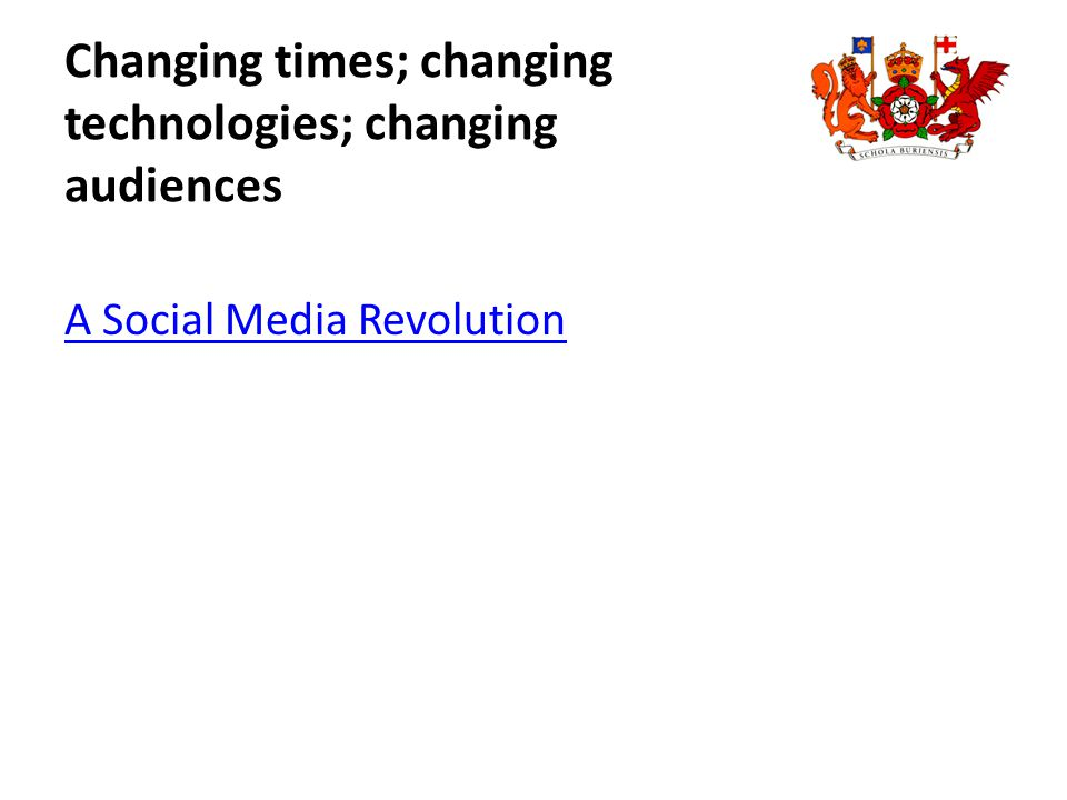 Changing times; changing technologies; changing audiences A Social Media Revolution