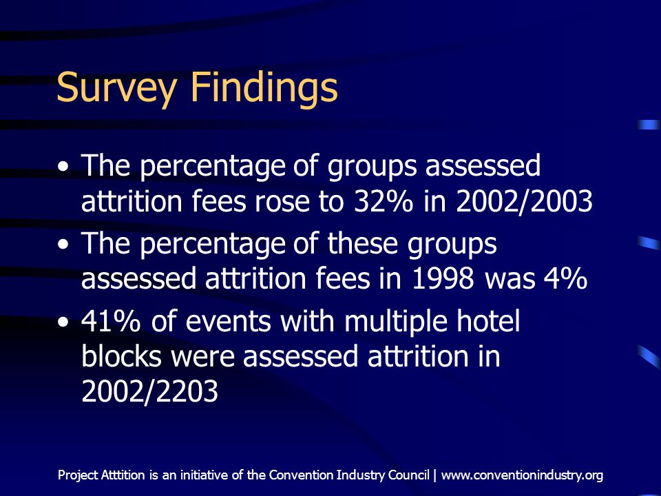 Project Atttition is an initiative of the Convention Industry Council | www.conventionindustry.org Survey Findings The percentage of groups assessed attrition fees rose to 32% in 2002/2003 The percentage of these groups assessed attrition fees in 1998 was 4% 41% of events with multiple hotel blocks were assessed attrition in 2002/2203