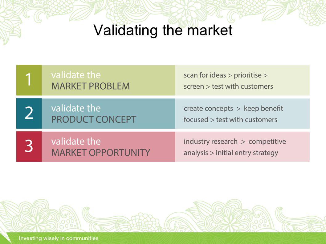 Validating the market