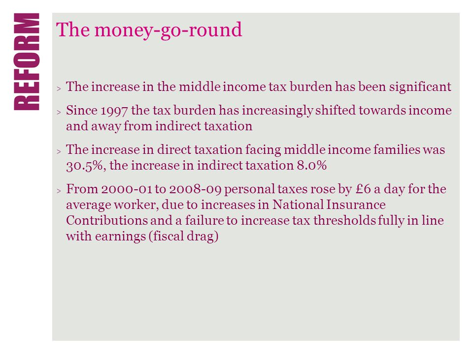 The money-go-round > The increase in the middle income tax burden has been significant > Since 1997 the tax burden has increasingly shifted towards income and away from indirect taxation > The increase in direct taxation facing middle income families was 30.5%, the increase in indirect taxation 8.0% > From 2000-01 to 2008-09 personal taxes rose by £6 a day for the average worker, due to increases in National Insurance Contributions and a failure to increase tax thresholds fully in line with earnings (fiscal drag)