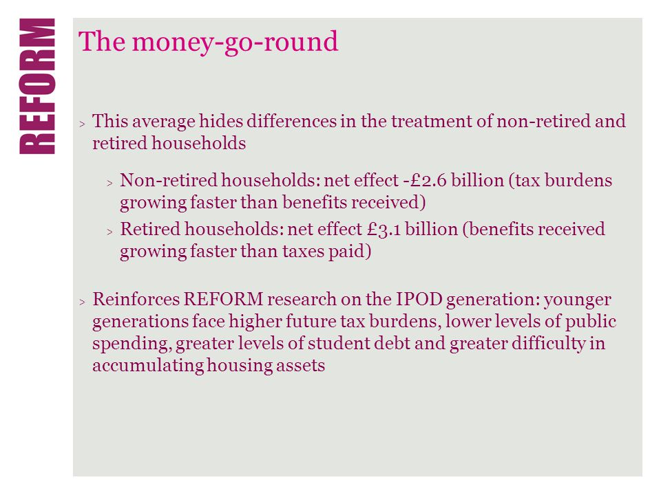 The money-go-round > This average hides differences in the treatment of non-retired and retired households > Non-retired households: net effect -£2.6 billion (tax burdens growing faster than benefits received) > Retired households: net effect £3.1 billion (benefits received growing faster than taxes paid) > Reinforces REFORM research on the IPOD generation: younger generations face higher future tax burdens, lower levels of public spending, greater levels of student debt and greater difficulty in accumulating housing assets