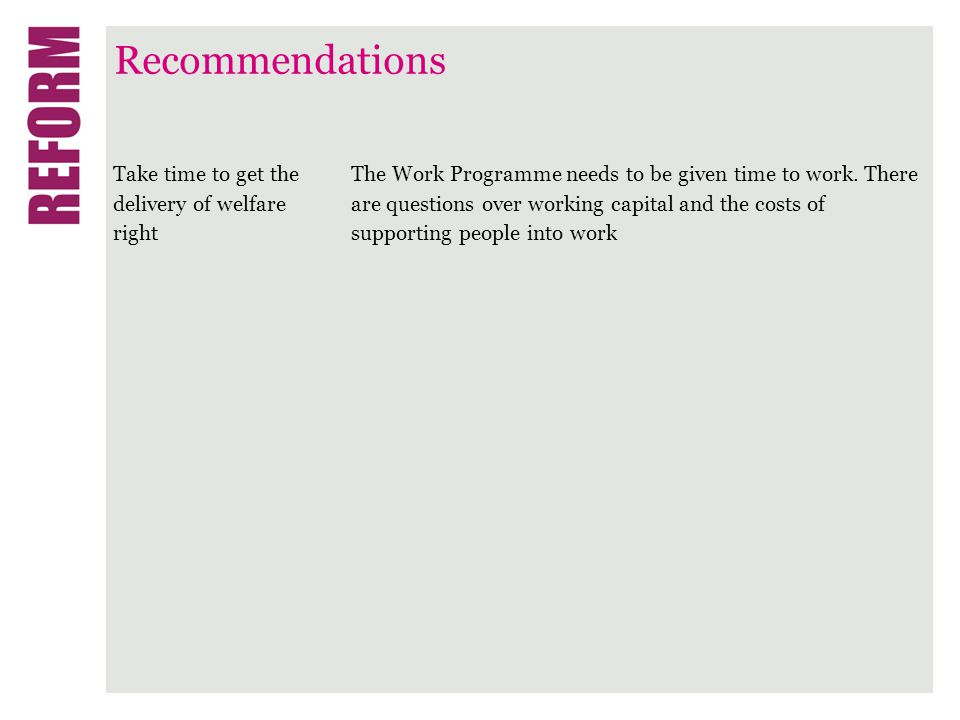 Recommendations Take time to get the delivery of welfare right The Work Programme needs to be given time to work.