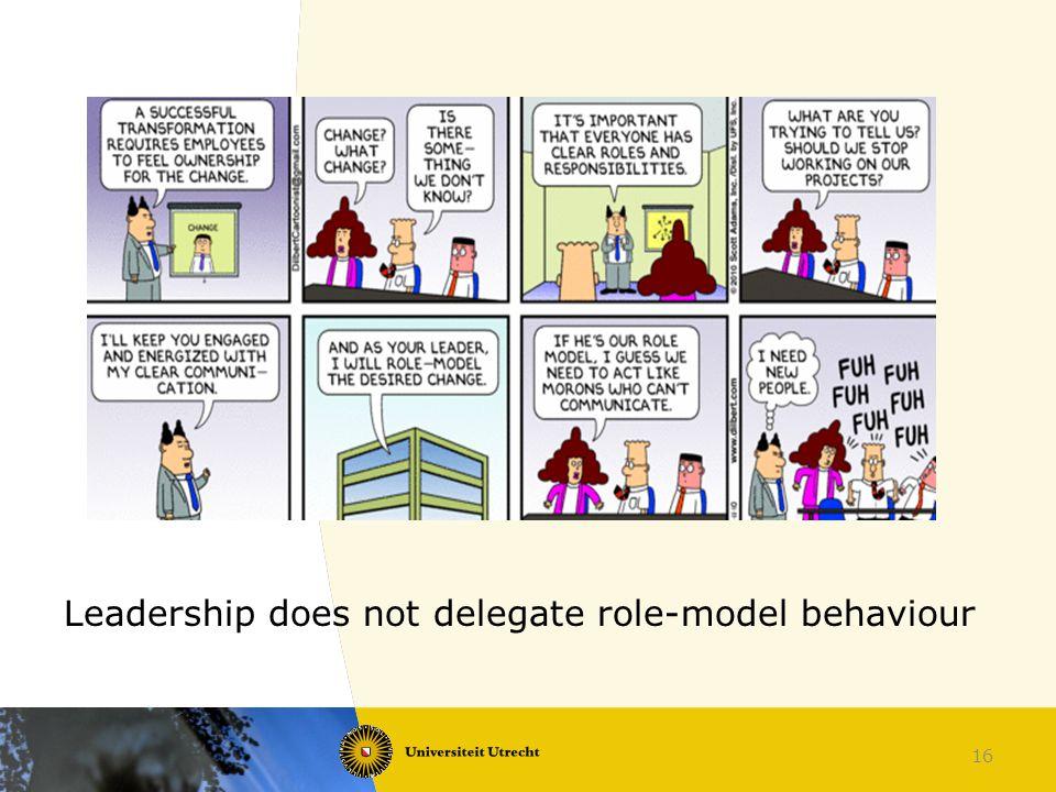 Leadership does not delegate role-model behaviour 16