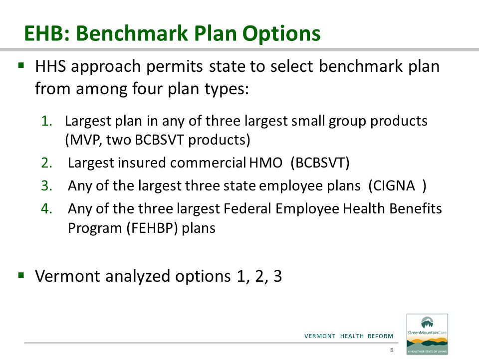 VERMONT HEALTH REFORM EHB: Benchmark Plan Options  HHS approach permits state to select benchmark plan from among four plan types: 1.Largest plan in