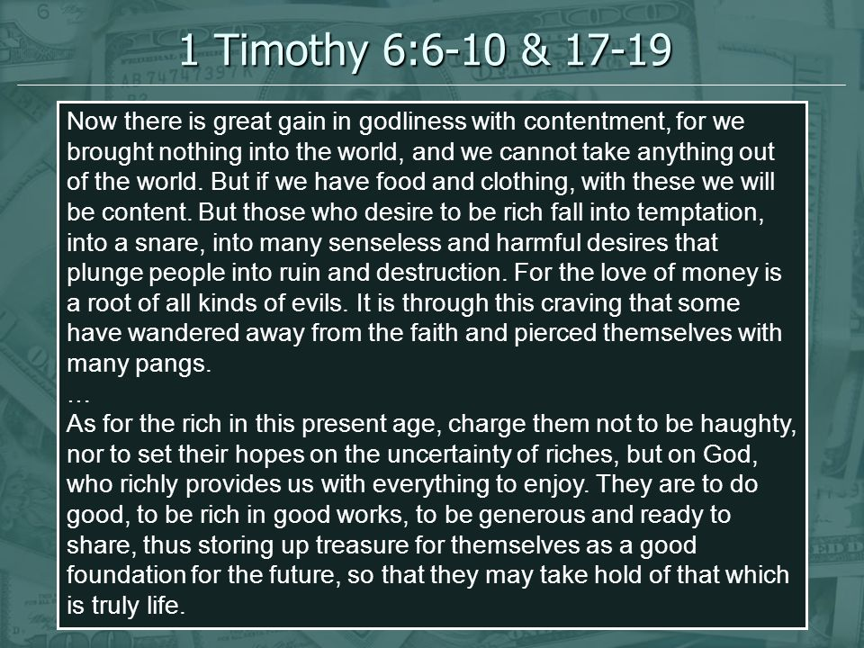 Why Shouldn t We Pursue Riches.