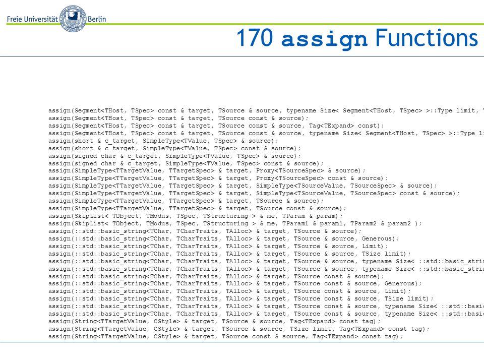 assign(Segment const & target, TSource & source, typename Size >::Type limit, Tag const); assign(Segment const & target, TSource const & source); assign(Segment const & target, TSource const & source, Tag const); assign(Segment const & target, TSource const & source, typename Size >::Type limit, Tag const); assign(short & c_target, SimpleType & source); assign(short & c_target, SimpleType const & source); assign(signed char & c_target, SimpleType & source); assign(signed char & c_target, SimpleType const & source); assign(SimpleType & target, Proxy & source); assign(SimpleType & target, Proxy const & source); assign(SimpleType & target, SimpleType & source); assign(SimpleType & target, SimpleType const & source); assign(SimpleType & target, TSource & source); assign(SimpleType & target, TSource const & source); assign(SkipList & me, TParam & param); assign(SkipList & me, TParam1 & param1, TParam2 & param2 ); assign(::std::basic_string & target, TSource & source); assign(::std::basic_string & target, TSource & source, Generous); assign(::std::basic_string & target, TSource & source, Limit); assign(::std::basic_string & target, TSource & source, TSize limit); assign(::std::basic_string & target, TSource & source, typename Size >::Type limit, Generous); assign(::std::basic_string & target, TSource & source, typename Size >::Type limit, Limit); assign(::std::basic_string & target, TSource const & source); assign(::std::basic_string & target, TSource const & source, Generous); assign(::std::basic_string & target, TSource const & source, Limit); assign(::std::basic_string & target, TSource const & source, TSize limit); assign(::std::basic_string & target, TSource const & source, typename Size >::Type limit, Generous); assign(::std::basic_string & target, TSource const & source, typename Size >::Type limit, Limit); assign(String & target, TSource & source, Tag const tag); assign(String & target, TSource & source, TSize limit, Tag const tag); assign(String & target, TSource