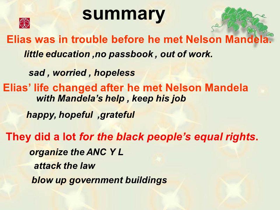 summary Elias was in trouble before he met Nelson Mandela.
