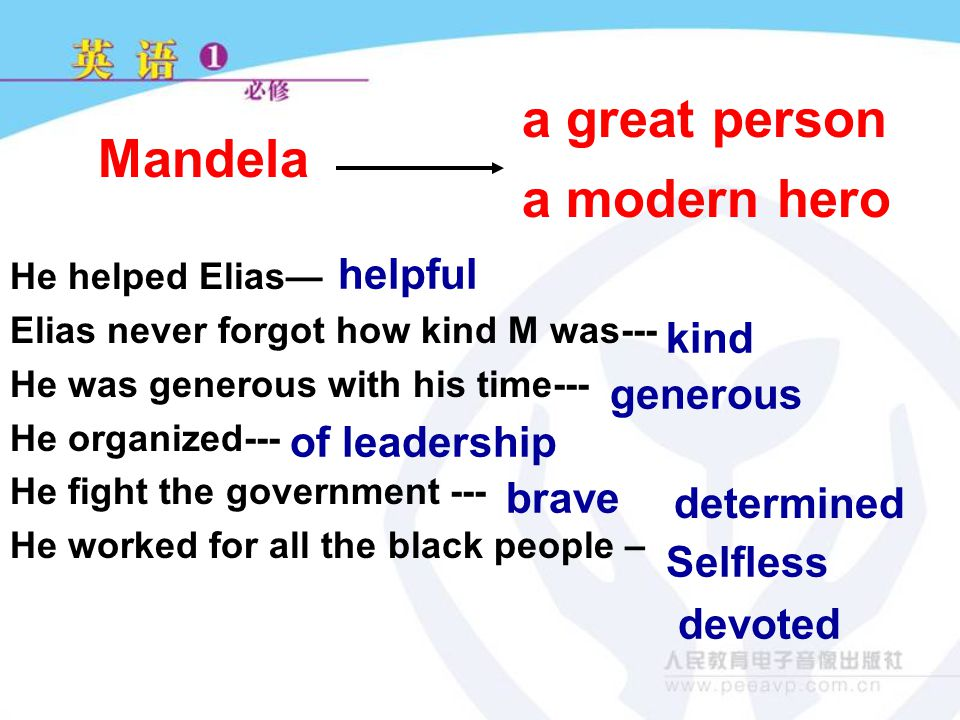 He helped Elias— Elias never forgot how kind M was--- He was generous with his time--- He organized--- He fight the government --- He worked for all the black people – helpful kind generous of leadership brave determined Selfless devoted a modern hero Mandela a great person
