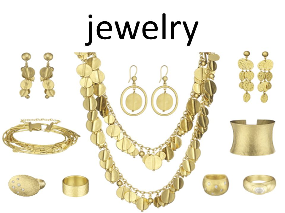 (Noun) items worn as ornaments, (examples) necklaces, bracelets, earrings, or rings