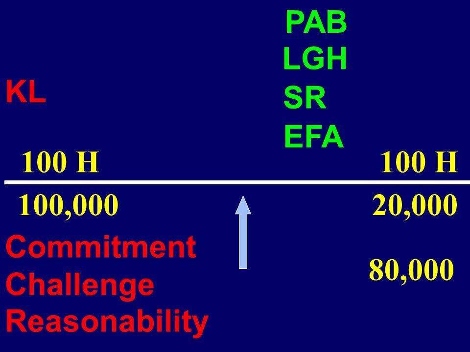 100 H 100 H 100,000 PAB KL 20,000 Commitment Challenge Reasonability LGH SR EFA 80,000
