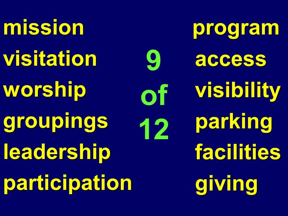missionvisitationworshipgroupingsleadershipparticipation program program access access visibility visibility parking parking facilities facilities giving giving 9 of 12