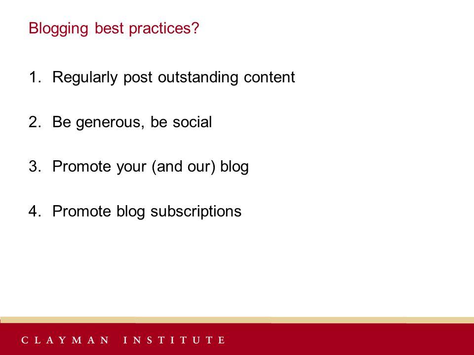 Blogging best practices.