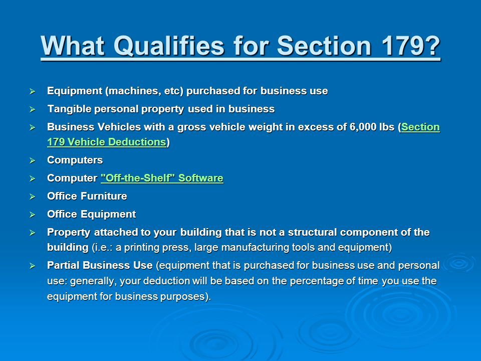 What Qualifies for Section 179.