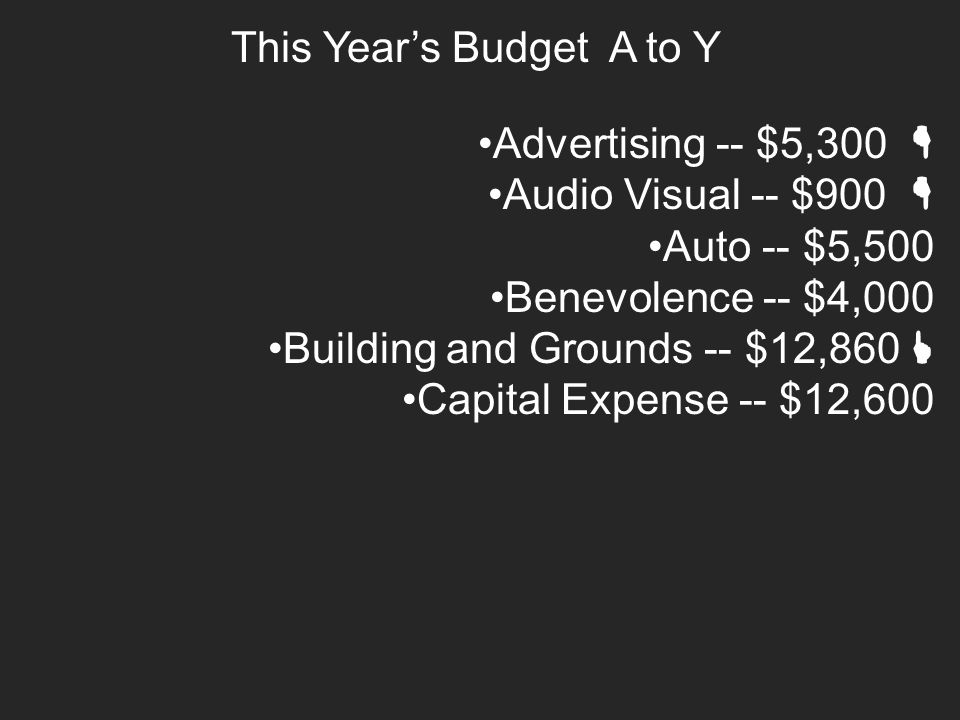 This Year's Budget A to Y Advertising -- $5,300  Audio Visual -- $900  Auto -- $5,500 Benevolence -- $4,000 Building and Grounds -- $12,860  Capital Expense -- $12,600