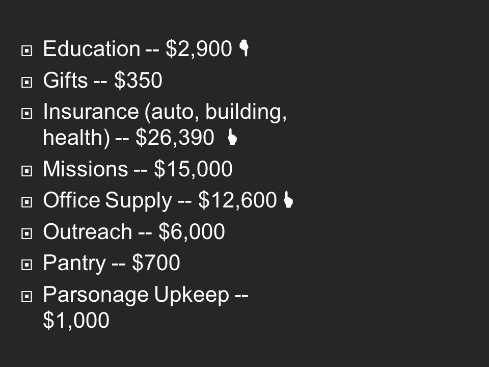  Education -- $2,900   Gifts -- $350  Insurance (auto, building, health) -- $26,390   Missions -- $15,000  Office Supply -- $12,600   Outreac