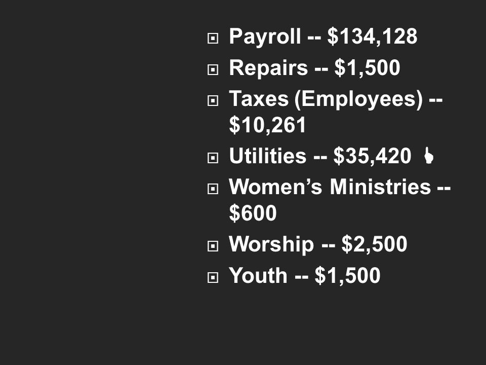  Payroll -- $134,128  Repairs -- $1,500  Taxes (Employees) -- $10,261  Utilities -- $35,420   Women's Ministries -- $600  Worship -- $2,500  Youth -- $1,500