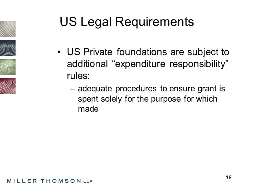 18 US Legal Requirements US Private foundations are subject to additional expenditure responsibility rules: –adequate procedures to ensure grant is spent solely for the purpose for which made