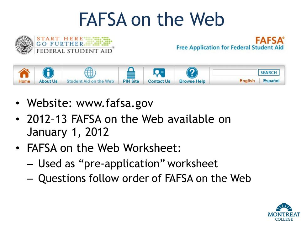 Worksheet Fafsa On The Web Worksheet financing your montreat college education how much does it cost fafsa on the web website www gov on