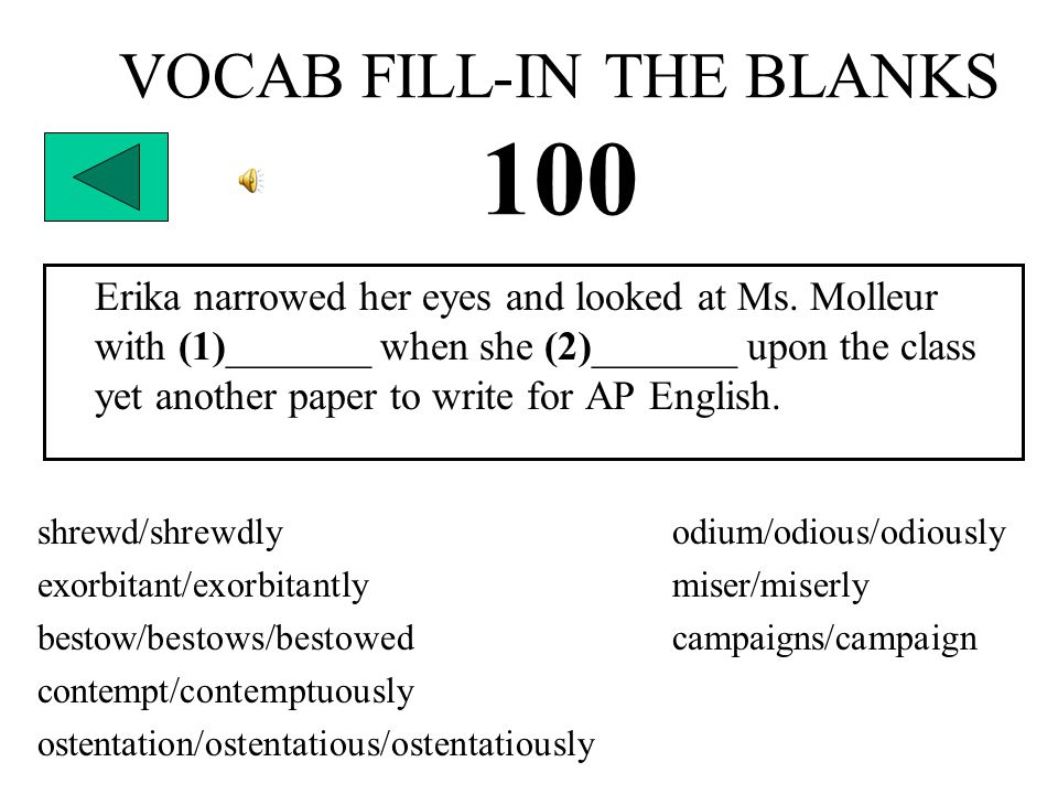 VOCAB FILL-IN THE BLANKS 100 Erika narrowed her eyes and looked at Ms.