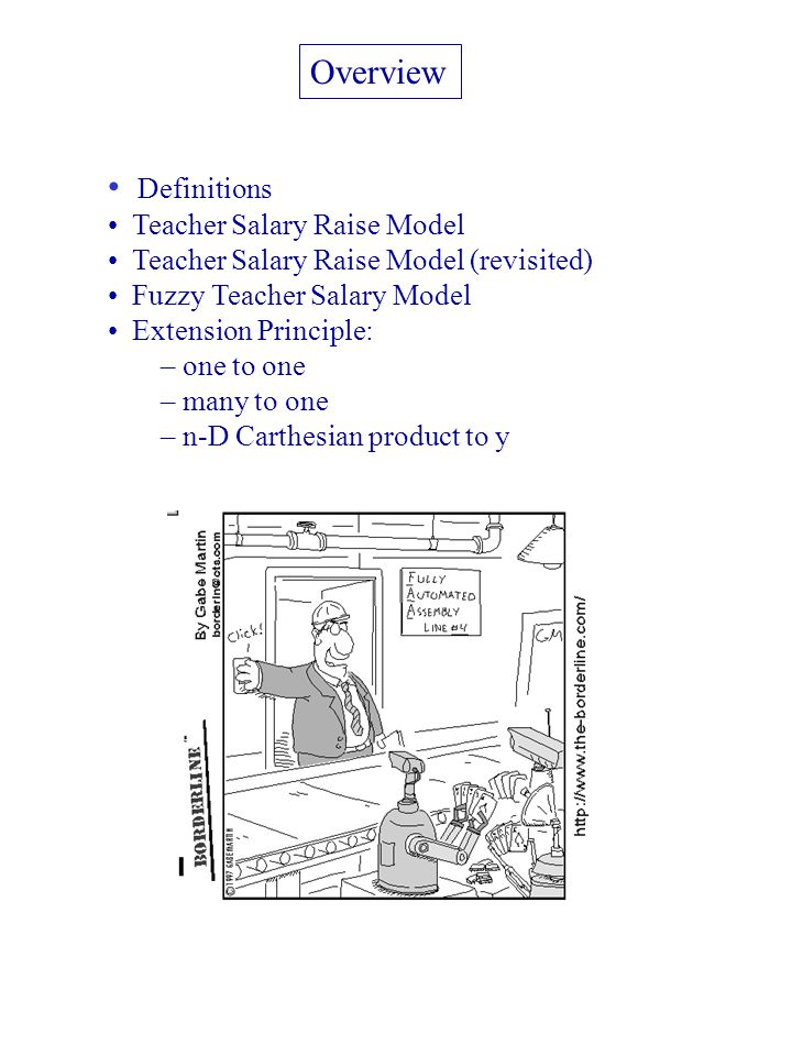 Overview Definitions Teacher Salary Raise Model Teacher Salary Raise Model (revisited) Fuzzy Teacher Salary Model Extension Principle: – one to one – many to one – n-D Carthesian product to y