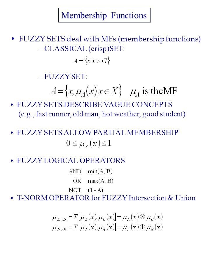 FUZZY SETS deal with MFs (membership functions) – CLASSICAL (crisp)SET: – FUZZY SET: FUZZY SETS DESCRIBE VAGUE CONCEPTS (e.g., fast runner, old man, hot weather, good student) FUZZY SETS ALLOW PARTIAL MEMBERSHIP FUZZY LOGICAL OPERATORS T-NORM OPERATOR for FUZZY Intersection & Union Membership Functions