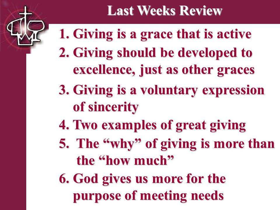 Brentwood Park Last Weeks Review 4. Two examples of great giving 3.