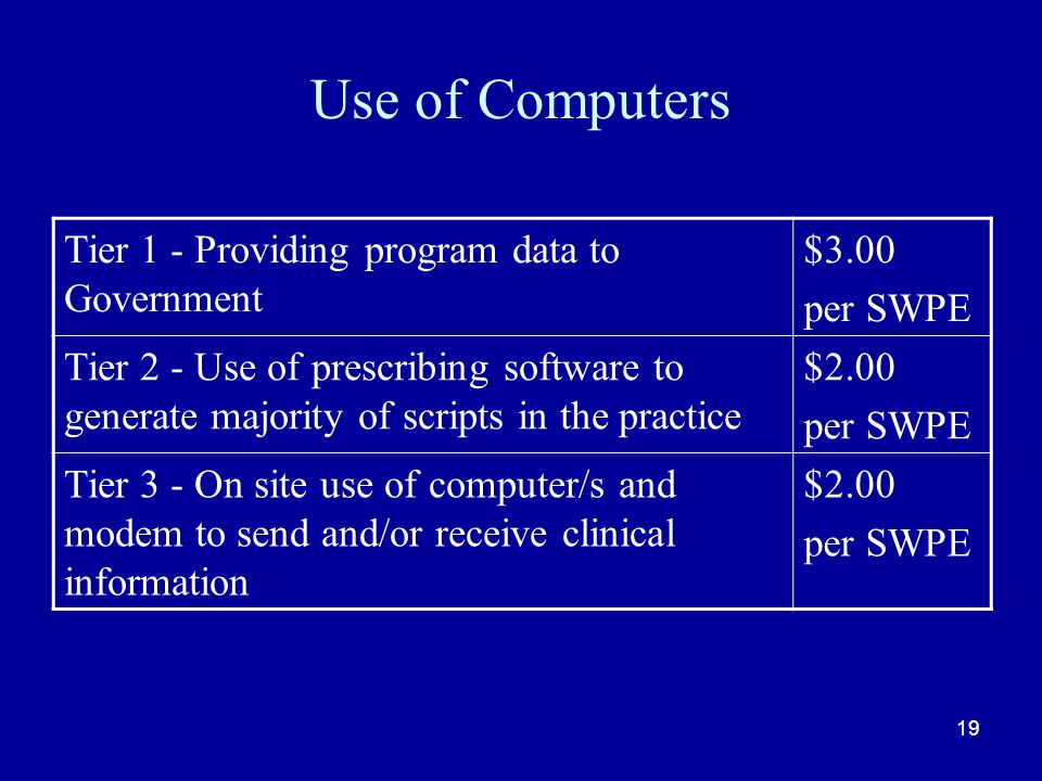 19 Use of Computers Tier 1 - Providing program data to Government $3.00 per SWPE Tier 2 - Use of prescribing software to generate majority of scripts in the practice $2.00 per SWPE Tier 3 - On site use of computer/s and modem to send and/or receive clinical information $2.00 per SWPE