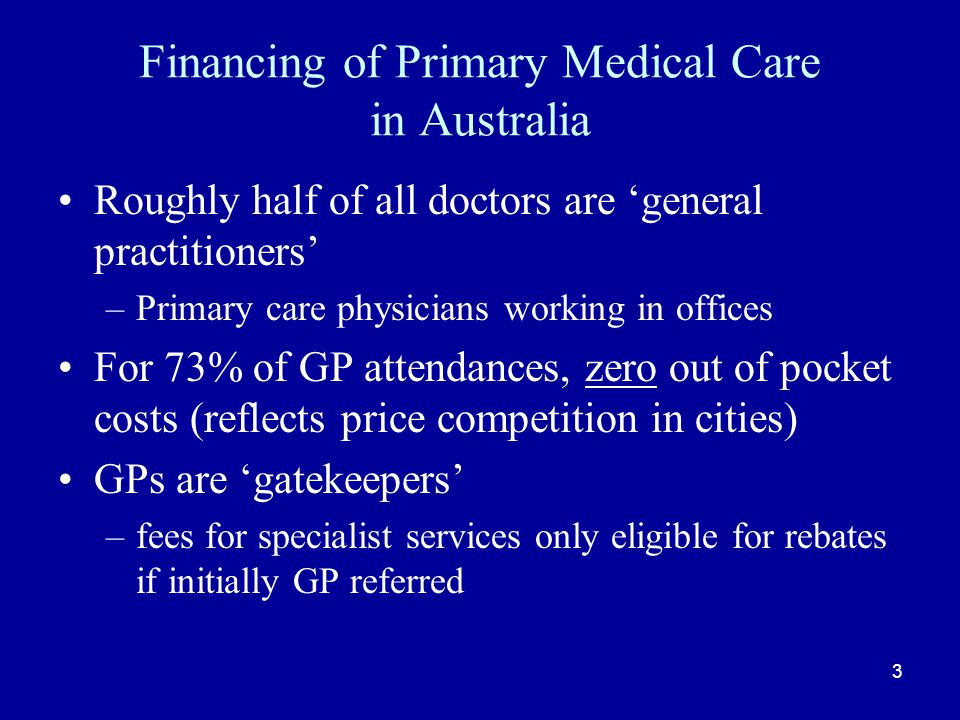 Care Planning Incentive Designed to encourage take up of multi- disciplinary care planning Payment for undertaking plans for a prescribed percentage of eligible patients Payment very generous per service Take up became enormous, once targets understood, but with very poor adherence to guidelines