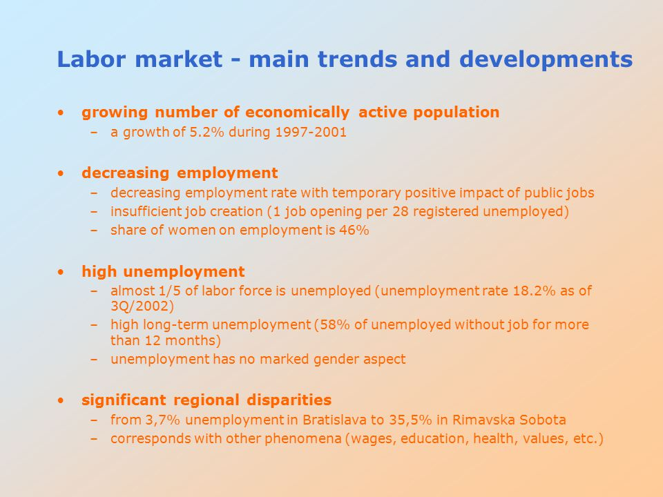 Labor market - main trends and developments growing number of economically active population –a growth of 5.2% during 1997-2001 decreasing employment –decreasing employment rate with temporary positive impact of public jobs –insufficient job creation (1 job opening per 28 registered unemployed) –share of women on employment is 46% high unemployment –almost 1/5 of labor force is unemployed (unemployment rate 18.2% as of 3Q/2002) –high long-term unemployment (58% of unemployed without job for more than 12 months) –unemployment has no marked gender aspect significant regional disparities –from 3,7% unemployment in Bratislava to 35,5% in Rimavska Sobota –corresponds with other phenomena (wages, education, health, values, etc.)