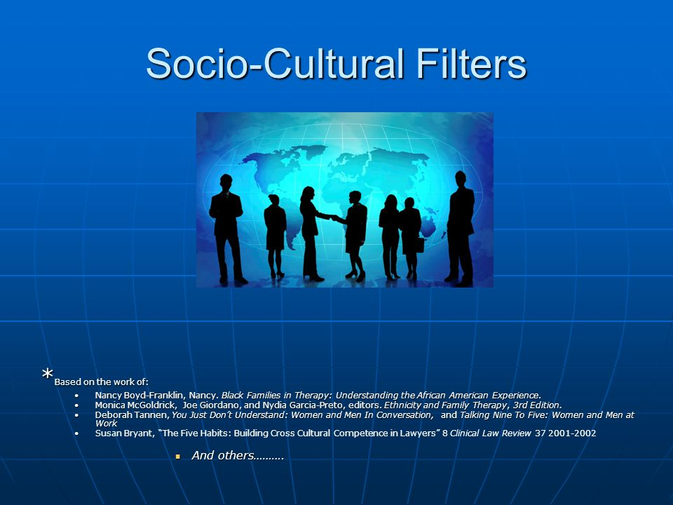 Socio-Cultural Filters * Based on the work of: Nancy Boyd-Franklin, Nancy.