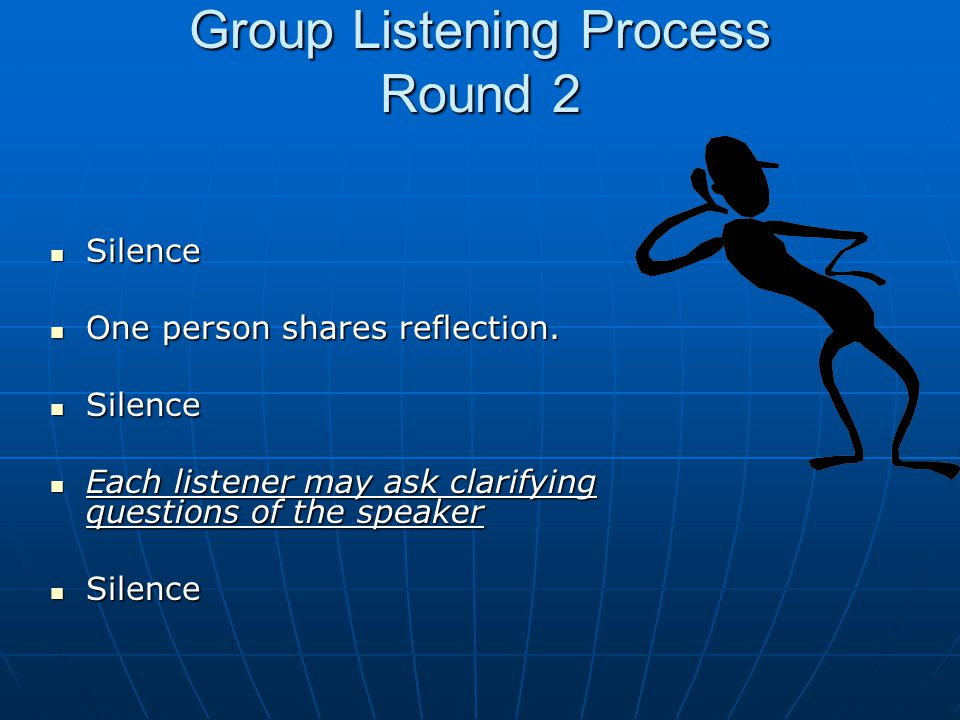 Group Listening Process Round 2 Silence Silence One person shares reflection.