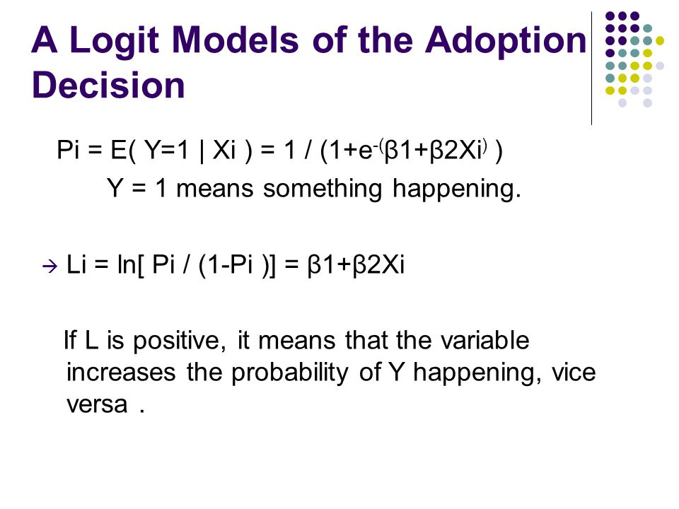 A Logit Models of the Adoption Decision Pi = E( Y=1 | Xi ) = 1 / (1+e -( β1+β2Xi ) ) Y = 1 means something happening.