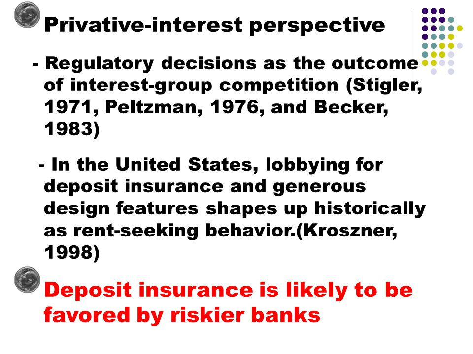 Privative-interest perspective - Regulatory decisions as the outcome of interest-group competition (Stigler, 1971, Peltzman, 1976, and Becker, 1983) - In the United States, lobbying for deposit insurance and generous design features shapes up historically as rent-seeking behavior.(Kroszner, 1998) Deposit insurance is likely to be favored by riskier banks